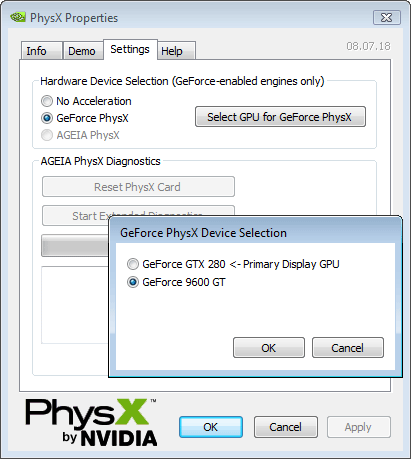 GeForce PhysX Device Selection
