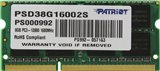Patriot <PSD38G16002S> DDR3 SODIMM  8Gb <PC3-12800> CL11 (for NoteBook)